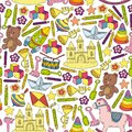Icons for little boys and girls. Hand drawn children drawings pattern. Kindergarten toys background. Vector illustration Royalty Free Stock Photo
