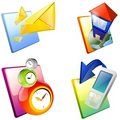 Icons: mail, house, clocks, mobile phone. Stock Photo