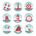 Icons on the marine theme with a lighthouse ships sailboats anchor oars wheel and bottle with a message eps Stock Photos