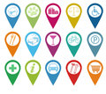 Icons for markers on maps Royalty Free Stock Image