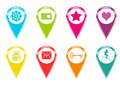 Icons for markers on maps set of with some symbols and colors Royalty Free Stock Photography