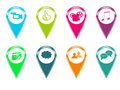 Icons for markers on maps set of with some symbols and colors Royalty Free Stock Photo