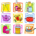 Icons Meal and ware Royalty Free Stock Photo