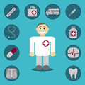 Icons with medical signs Royalty Free Stock Photo