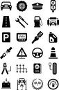 Icons of motor vehicles, traffic & mechanical Royalty Free Stock Photo