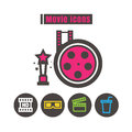 Icons movie colour vector on white background
