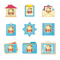 Icons With Nice Girl Royalty Free Stock Image