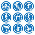 Icons nine different blue with white silhouettes for different sports Stock Photography