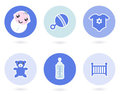Icons and objects for baby boy Royalty Free Stock Image