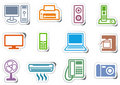 Icons of office equipment Stock Images