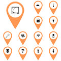 Icons orange, callout, map / Vector icon set instrument/ Icon voltmeter, Royalty Free Stock Photo