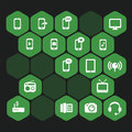 Icons pack hexagon set vectors green Royalty Free Stock Photos