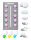 Icons pack pills and tablets Royalty Free Stock Images