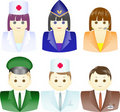 Icons of people from different professions Stock Images