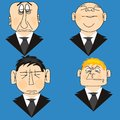 Icons people in suit much on turn blue background Stock Image