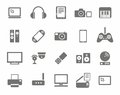 Icons, photo & video equipment, audio equipment, monochrome, white background.