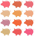 Icons pig piggy bank. Vector. Royalty Free Stock Photo