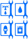 Icons for plumbing repair set water Royalty Free Stock Photo