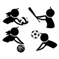 Icons of practice sports four silhouettes practicing some in the white background Stock Photos