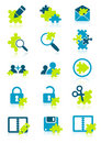 Icons with puzzle elements Royalty Free Stock Image