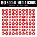 Red Vector circle social media icons - for web design and graphic design