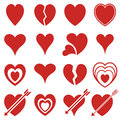 Icons of red hearts Royalty Free Stock Photo