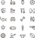 Icons related to boys and men illustrations of including scooter football cards diy tools boxing gloves car cigarette rugby Stock Photography