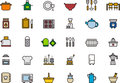 Icons related to the kitchen set of thirty illustrating subjects white background Stock Photo