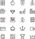 Icons related to money Royalty Free Stock Photo