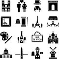Icons related to paris france black white Stock Photo