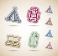 Icons in relations to summer outdoor activity pictured here from left to right top to bottom tipi backpack camp stove bottle cage Royalty Free Stock Photo