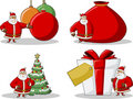 Icons of Santa-Claus on Christmas time Stock Photography