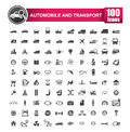 100 icons set of auto transport and logistic isolated on white b