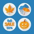 Icons set autumn flat design.