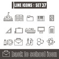Icons set back to school line black Modern Style design elements