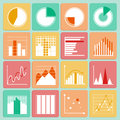 Icons set of business presentation charts and graphs infographic elements isolated vector illustration Royalty Free Stock Photography