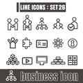Icons set Business Team Works line black Modern Style design