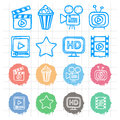 Icons set cinema doodles illustration format eps Royalty Free Stock Photo