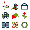 Icons set education colored simple Stock Photos