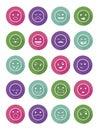 Icons set 20 emotional smiles in circles