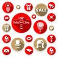 Icons set flat valentines, love symbols