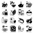 Icons set food and drink with reflection Stock Image