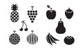 Icons set fruits Royalty Free Stock Photo