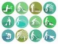 Icons set gardening Object
