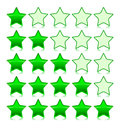 Icons Set of green stars. Vector illustration Stock Photography