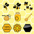 Icons set honey signs of bees can with hive on branch Stock Photography