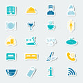 Icons set hotel services. Colorful stickers. Vector