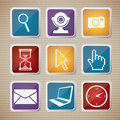 Icons set illustration icon of computers and networks illustration Stock Photography