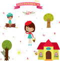 Icons set little red riding hood from the fairy tale cute cartoon elements design over white Stock Image