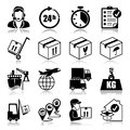 Icons set logistics with reflection Stock Photo